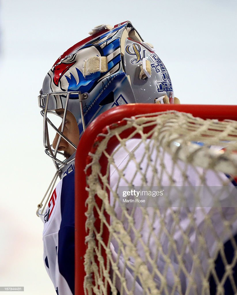 <a gi-track='captionPersonalityLinkClicked' href=/galleries/search?phrase=Dennis+Endras&family=editorial&specificpeople=5526366 ng-click='$event.stopPropagation()'>Dennis Endras</a>, goaltender of Mannheim looks on during the DEL match between Wolfsburg Grizzly Adams and Adler Mannheim at Volksbank BraWo EisArena on November 25, 2012 in Wolfsburg, Germany.