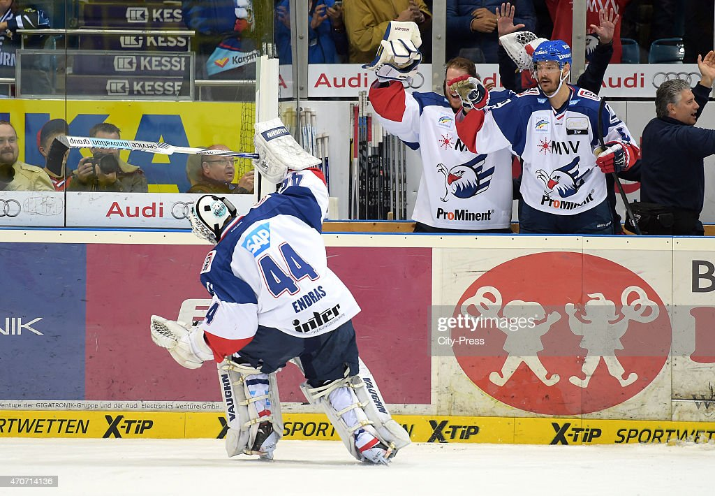 Dennis Endras Youri Ziffzer Kurtis Foster of the Adler Mannheim during the game between ERC Ingolstadt and Adler Mannheim on april 22 2015 in...