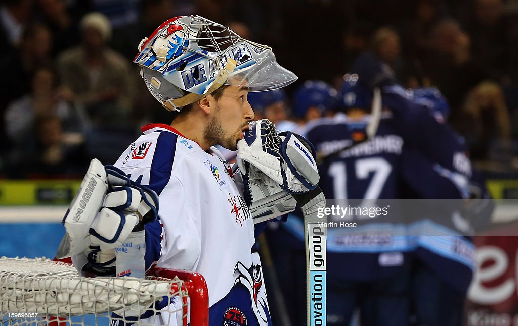 Dennis Endrass, goaltender of Mannheim reacts during the DEL match between Hamburg Freezers and Adler Mannheim at O2 World on January 18, 2013 in Hamburg, Germany.