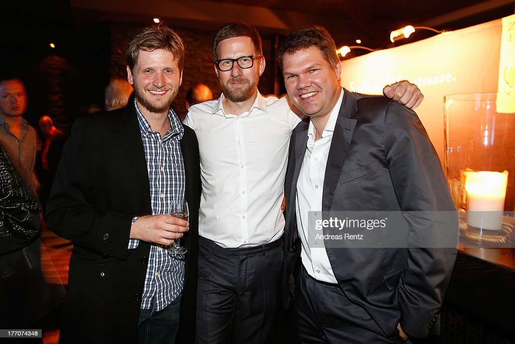 <a gi-track='captionPersonalityLinkClicked' href=/galleries/search?phrase=Dennis+Gansel&family=editorial&specificpeople=2627496 ng-click='$event.stopPropagation()'>Dennis Gansel</a>, Philipp Hergarden and Christoph Becker attend the after show party to the 'The Mortal Instruments: City of Bones' (Chroniken der Unterwelt) Germany premiere at Puro Lounge on August 20, 2013 in Berlin, Germany.