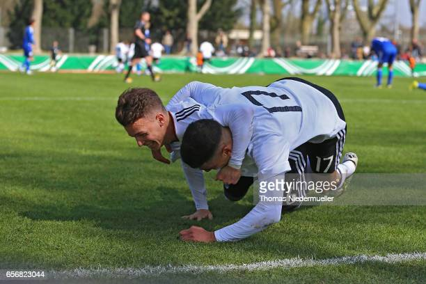 Dennis Geiger and Aymen Barkok of Germany celebrate during the UEFA Under19 European Championship qualifiers between U19 Germany and U19 Cyprus on...