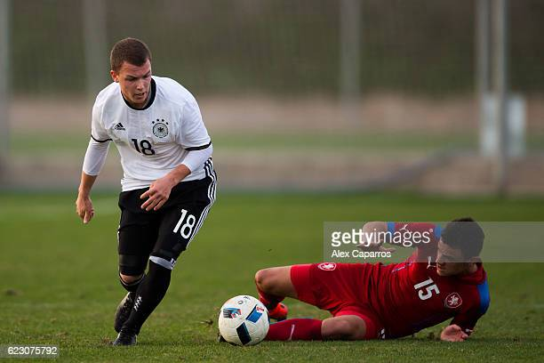 Dennis Geiger of Germany conducts the ball during the U19 international friendly match between Czech Republic and Germany on November 13 2016 in...