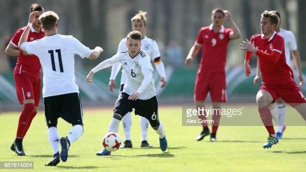 Dennis Geiger of Germany during the UEFA Elite Round match between U19 Germany and U19 Serbia at Sportpark on March 25 2017 in Kelsterbach Germany