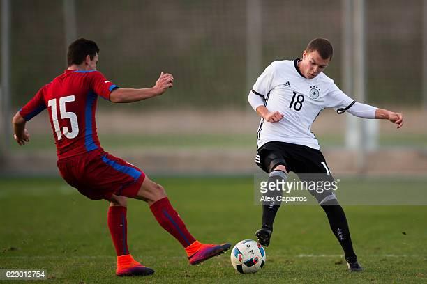 Dennis Geiger of Germany fights for the ball with Daniel Soucek of Czech Republic during the U19 international friendly match between Czech Republic...