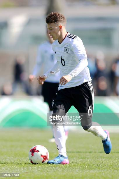 Dennis Geiger of Germany in action with the ball during the UEFA Under19 European Championship qualifiers between U19 Germany and U19 Cyprus on March...