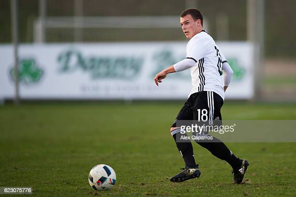 Dennis Geiger of Germany plays the ball during the U19 international friendly match between Czech Republic and Germany on November 13 2016 in Salou...