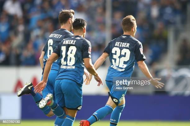 Dennis Geiger of Hoffenheim celebrates his goal to make it 10 during the Bundesliga match between TSG 1899 Hoffenheim and FC Schalke 04 at Wirsol...