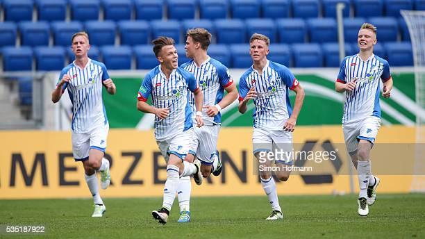 Dennis Geiger of Hoffenheim celebrates his team's first goal during the A Juniors German Championship Final match between 1899 Hoffenheim U19 and...