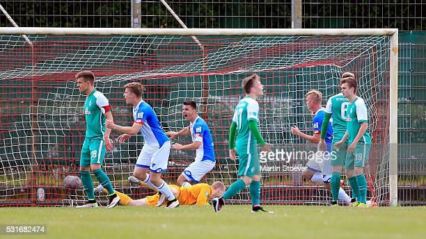 Dennis Geiger of Hoffenheim scores his goal during the match German U19 Championship Semi Final First Leg between Werder Bremen and 1899 Hoffenheim...
