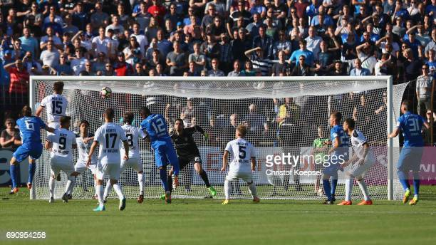 Dennis Geiger of Meppen does a header during the Relegation Regionalliga Play Off second leg match at Hensch Arena on May 31 2017 in Meppen Germany
