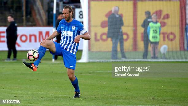 Dennis Geiger of Meppen runs with the ball during the Relegation Regionalliga Play Off second leg match at Hensch Arena on May 31 2017 in Meppen...