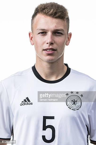 Dennis Geiger poses during Germany U19 Team Presentation at CommerzbankArena on October 3 2016 in Frankfurt am Main Germany
