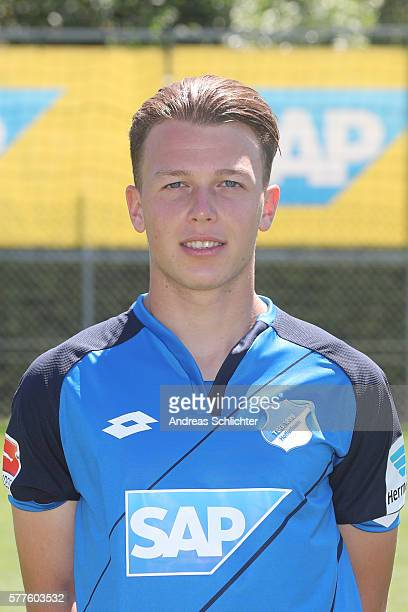 Dennis Geiger poses during the offical team presentation of TSG 1899 Hoffenheim on July 19 2016 in Sinsheim Germany