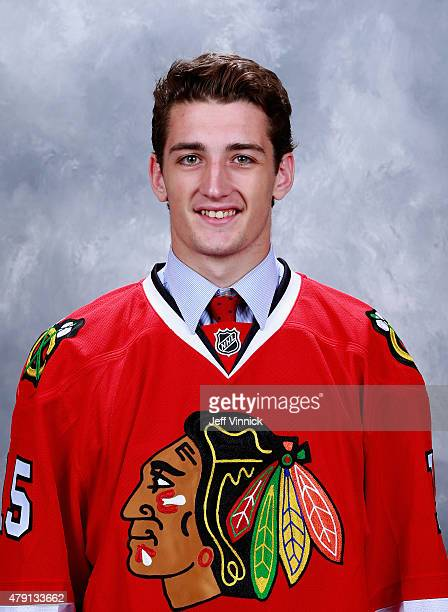 Dennis Gilbert draft pick by the Chicago Blackhawks poses for a portrait during the 2015 NHL Draft at BBT Center on June 27 2015 in Sunrise Florida