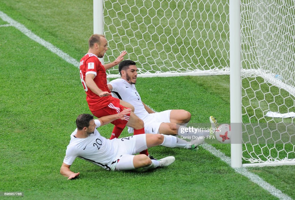 Dennis Glushakov of Russia scores his sides first goal during the FIFA Confederations Cup Russia 2017 Group A match between Russia and New Zealand at Saint Petersburg Stadium on June 17, 2017 in Saint Petersburg, Russia.