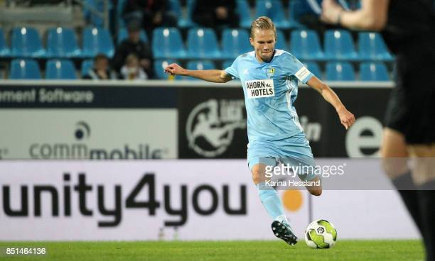 Dennis Grote of Chemnitz during the 3Liga match between Chemnitzer FC and SC Fortuna Koeln at Community4you Arena on September 20 2017 in Chemnitz...