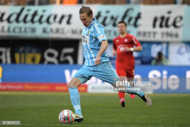 Dennis Grote of Chemnitz during the Semifinals at Wernesgruener Sachsen Pokal between Chemnitzer FC and FSV Zwickau on April 19 2017 at community4you...