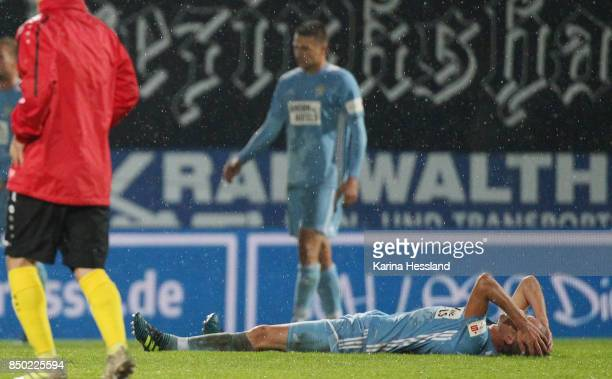 Dennis Grote of Chemnitz on the ground after the 3Liga match between Chemnitzer FC and SC Fortuna Koeln at Community4you Arena on September 20 2017...