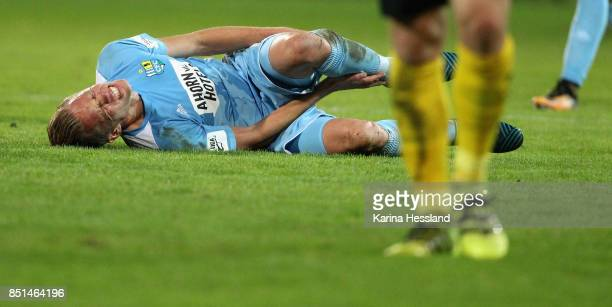 Dennis Grote of Chemnitz on the ground during the 3Liga match between Chemnitzer FC and SC Fortuna Koeln at Community4you Arena on September 20 2017...