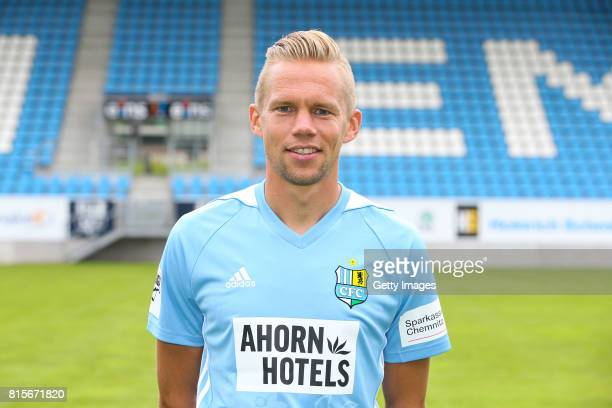Dennis Grote of Chemnitzer FC poses during the official team presentation of Chemnitzer FC at community4you Arena on July 13 2017 in Chemnitz Germany
