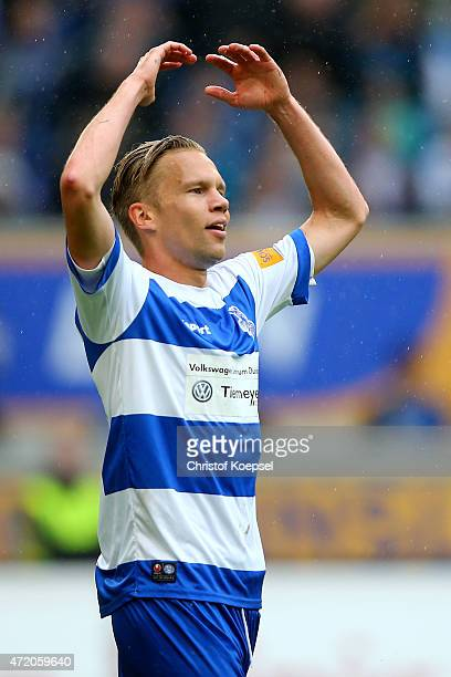 Dennis Grote of Duisburg gestures during the Third League match between MSV Duisbrug and Preussen Muenster at SchauinslandReisenArena on May 3 2015...