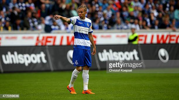 Dennis Grote of Duisburg issues instructions during the Third League match between MSV Duisbrug and Preussen Muenster at SchauinslandReisenArena on...