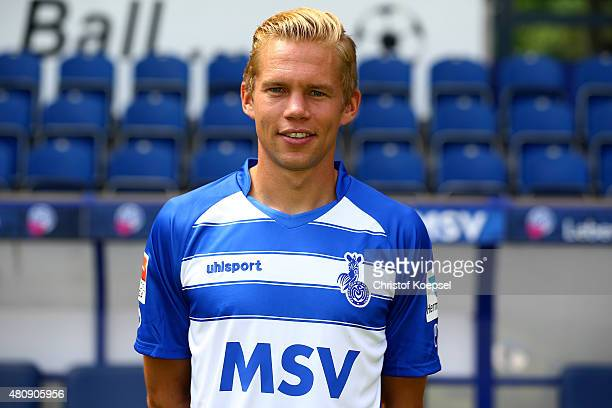 Dennis Grote poses during the team presenattion of MSV Duisburg at SchauinslandReisenArena on July 16 2015 in Duisburg Germany