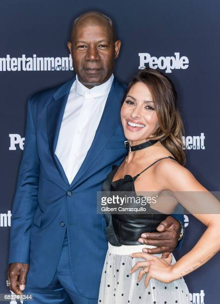 Dennis Haysbert and Sarah Shahi of Reverie attend Entertainment Weekly People New York Upfronts at 849 6th Ave on May 15 2017 in New York City