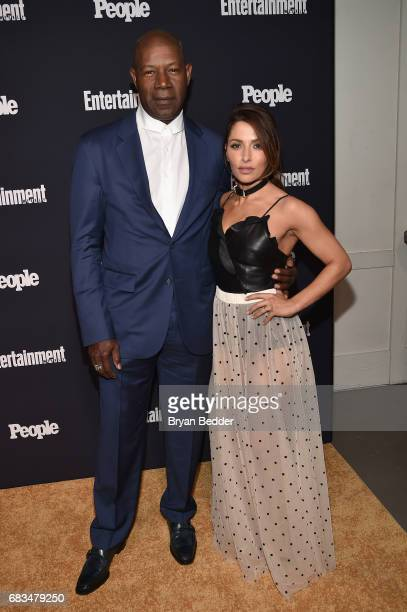 Dennis Haysbert and Sarah Shahi of Reverie attend the Entertainment Weekly and PEOPLE Upfronts party presented by Netflix and Terra Chips at Second...