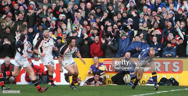 Dennis Hickey of Leinster scores a try aganst Ulster during during the Magners League match at Lansdowne Road Dublin