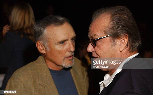 Dennis Hopper and Jack Nicholson during Smashbox LA Fashion Week Spring 2004 Jennifer Nicholson Show Front Row at Smashbox Studios in Culver City...