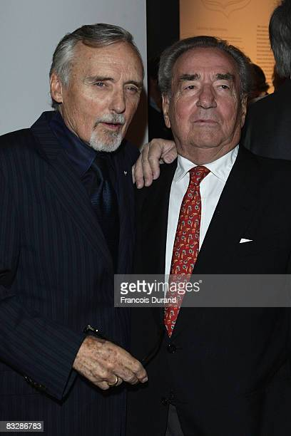 Dennis Hopper and Willy Rizzo attend the ''Dennis Hopper et le Nouvel Hollywood'' diner at la Cinematheque Francaise on October 15 2008 in Paris...