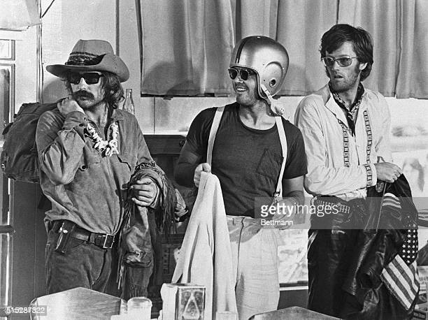 Dennis Hopper as Billy Jack Nicholson as George Hanson and Peter Fonda as Captain America in the 1969 film Easy Rider