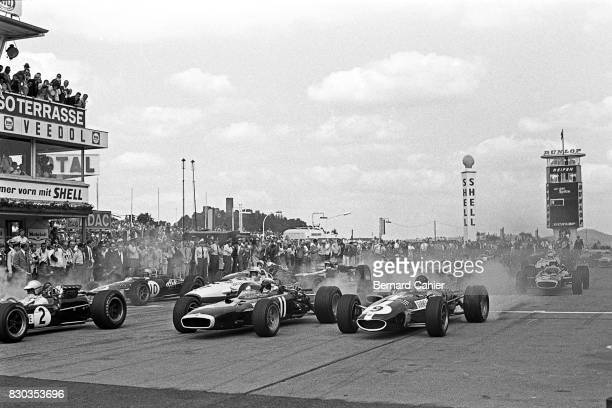 Dennis Hulme Jackie Stewart Dan Gurney Brabham BT24 BRM P83 H16 EagleWeslake T1G Grand Prix of Germany Nurburgring 06 August 1967