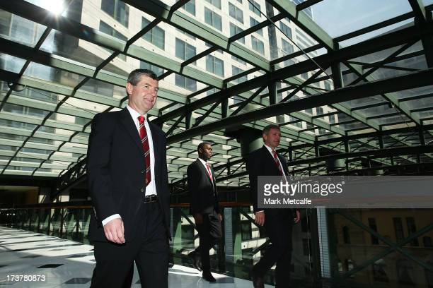 Dennis Irwin Andy Cole and Bryan Robson arrive for the official Manchester United official lunch at Westin Hotel on July 18 2013 in Sydney Australia