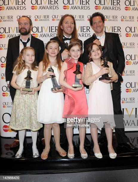 Dennis Kelly Tim Minchin Best Actor winner Bertie Carvel Best Actress winners Sophia Kiely Eleanor Worthington Cox Kerry Ingram and Cleo Demetriou...