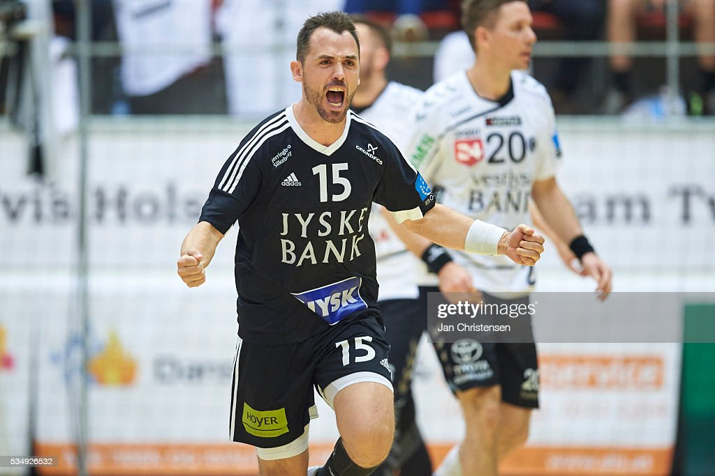 Dennis Kirkegaard of BSV Bjerringbro-Silkeborg celebrate after goal during the Danish Boxer Herreligaen second final match between Team Tvis Holstebro and BSV Bjerringbro Silkeborg in Grakjar Arena on May 28, 2016 in Holstebro, Denmark.