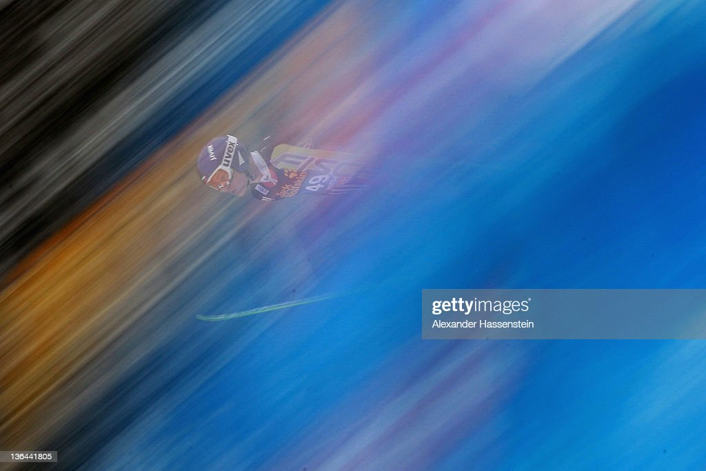 Dennis Kornilov of Russia competes during the training round of the FIS Ski Jumping World Cup event at the 60th Four Hills ski jumping tournament at...