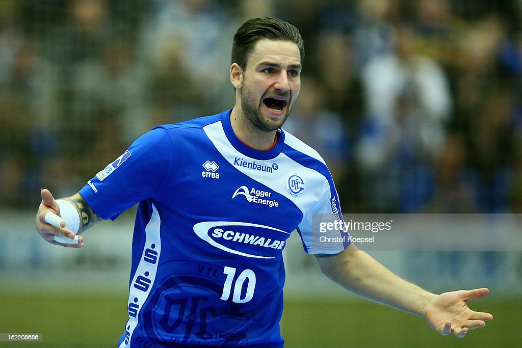 Dennis Krause of Gummersbach celebrates a goal during the DKB Handball Bundesliga match between VfL Gummersbach and FrischAuf Goeppingen at Eugen-Haas-Sporthalle on February 20, 2013 in Gummersbach, Germany.