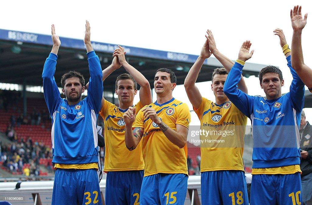 Dennis Kruppke Nico Zimmermann Norman Theuerkauf Oliver Petersch and Mirko Boland of Braunschweig celebrate after the Second Bundesliga match between...