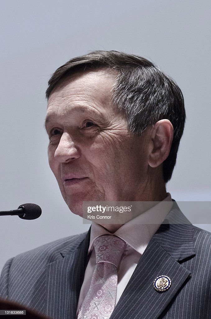 Dennis Kucinich speaks during a special screening of 'Pig Business on Capitol Hill' at the US Capitol Visitor Center North Orientation Theater on...