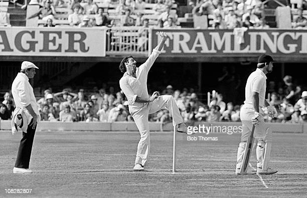 Dennis Lillee bowling for Australia against England during their Centenary Test match held at Lord's Cricket Ground London circa August 1980 The...