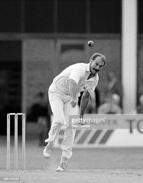 Dennis Lillee bowling for Northamptonshire against Gloucestershire during their County Championship cricket match held at the County Ground in...