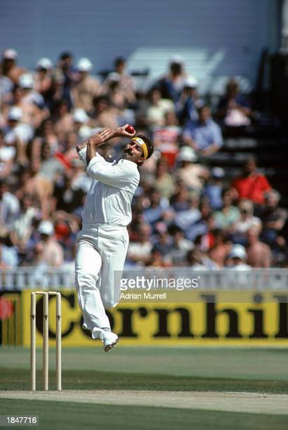 Dennis Lillee of Australia bowling during the 5th test match between Australia and England held in August 1981 in Manchester England