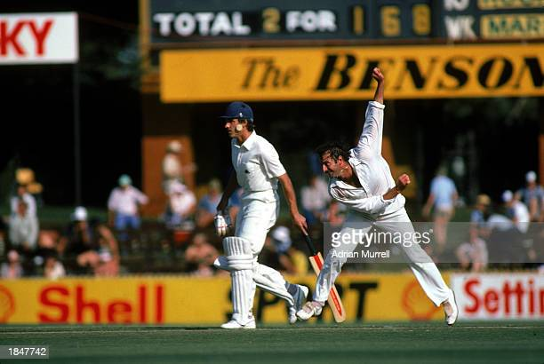 Dennis Lillee of Australia bowling during the Ashes test match between England and Australia held in November 1982 in Australia