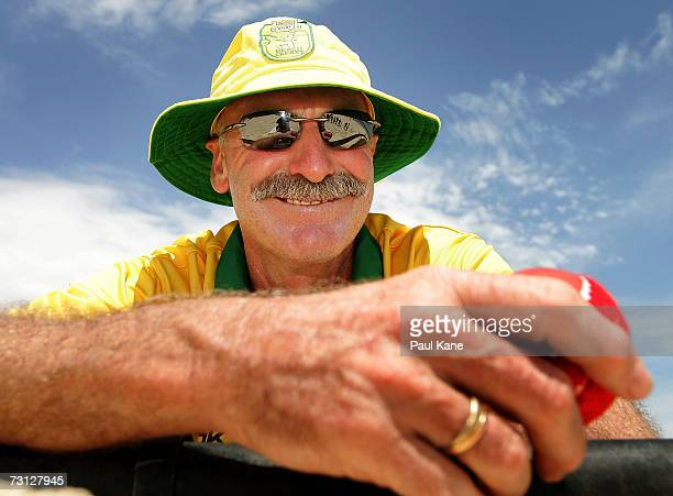 Dennis Lillee of Australia poses for a photo during the Beach Cricket TriNations match on Scarborough Beach January 27 2007 in Perth Australia