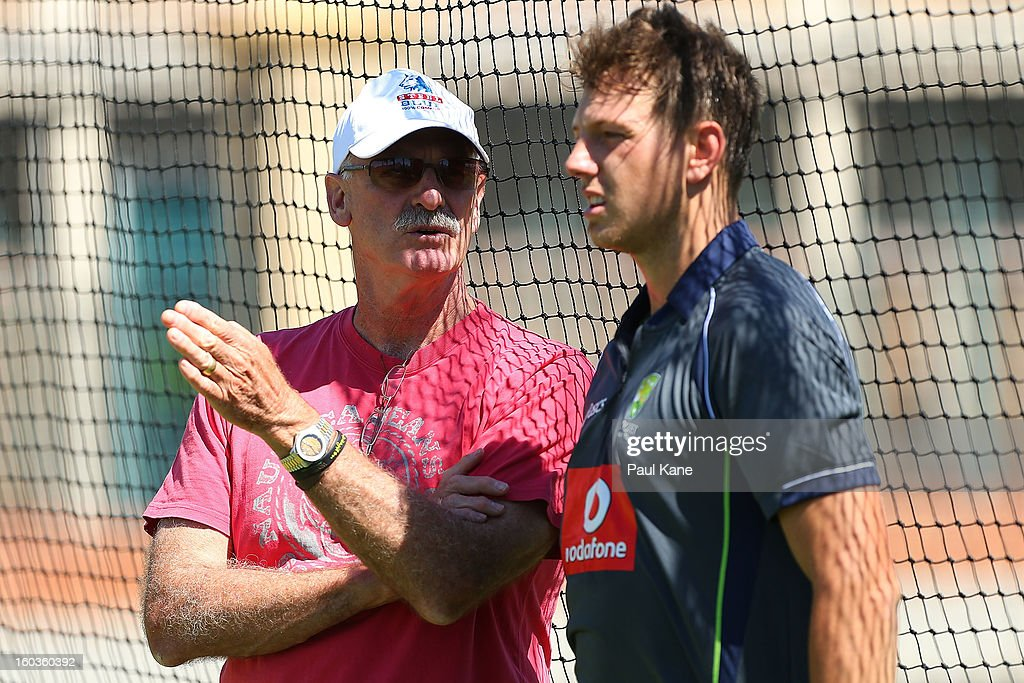 Dennis Lillee talks with James Pattinson during an Australian One Day International training session at WACA on January 30, 2013 in Perth, Australia.