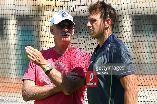 Dennis Lillee talks with James Pattinson during an Australian One Day International training session at WACA on January 30 2013 in Perth Australia