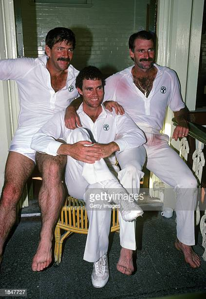 Dennis Lillee with Rodney Marsh and Greg Chappell of Australia posing for the camera in Australia