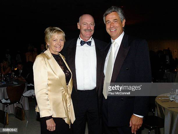 Dennis Lillee with wife Tonia and Damien Stenmark attend the Sony Foundation True Colours Gala Ball held at Wharf 8 on October 8 2005 in Sydney...